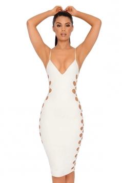 Womens Sexy V-Neck Spaghetti Straps Cut Out Clubwear Dress White