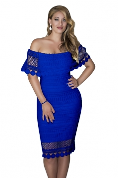 Womens Sexy Off Shoulder Bodycon Lace Midi Clubwear Dress Blue