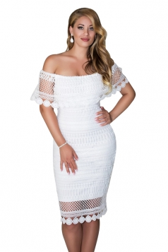 Womens Sexy Off Shoulder Bodycon Lace Midi Clubwear Dress White