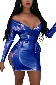 Womens Sexy Deer V Off Shoulder Lace Up Mini Clubwear Dress Blue