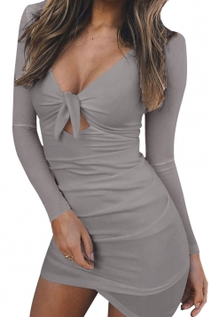 Womens V-Neck Long Sleeve Lace Up Cut Out Clubwear Bodycon Dress Gray