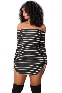 Womens Sexy Off Shoulder Long Sleeve Cross Stripe Clubwear Dress Black
