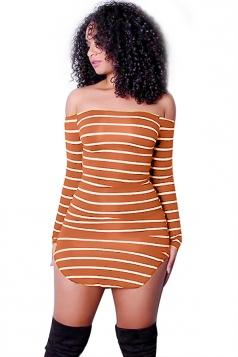 Womens Off Shoulder Long Sleeve Cross Stripe Clubwear Dress Orange