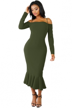 Womens Long Sleeve Spaghetti Straps Mermaid Clubwear Dress Army Green
