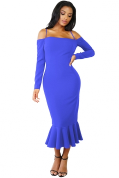 Womens Sexy Long Sleeve Spaghetti Straps Mermaid Clubwear Dress Blue