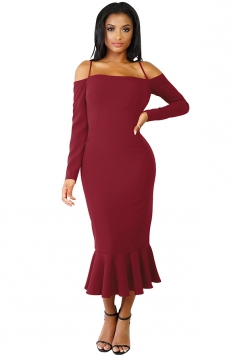Womens Sexy Long Sleeve Spaghetti Straps Mermaid Clubwear Dress Ruby