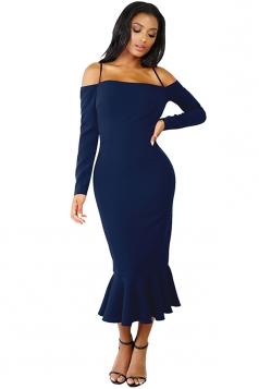 Womens Long Sleeve Spaghetti Straps Mermaid Clubwear Dress Navy Blue