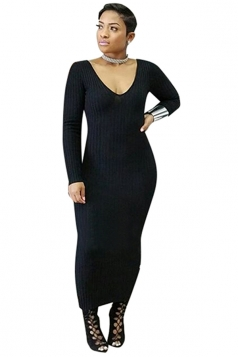 Womens V-Neck Long Sleeve Bodycon Maxi Sweater Clubwear Dress Black