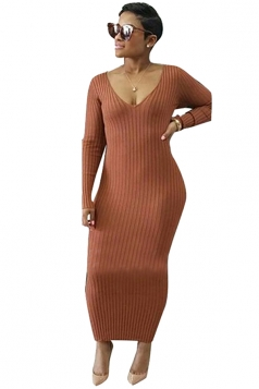 Womens V-Neck Long Sleeve Bodycon Maxi Sweater Clubwear Dress Brown