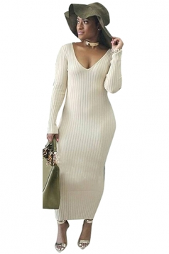Womens V-Neck Long Sleeve Bodycon Maxi Sweater Clubwear Dress White