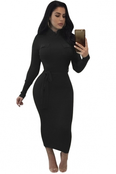 Women High Collar Long Sleeve Lace Up Bodycon Maxi Sweater Dress Black