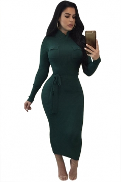 Women High Collar Long Sleeve Lace Up Bodycon Maxi Sweater Dress Green