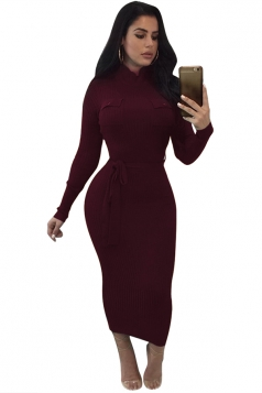 Women High Collar Long Sleeve Lace Up Bodycon Maxi Sweater Dress Ruby