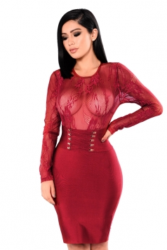 Long Sleeve Eyelet Lace Up Sheer Zipper Bodycon Clubwear Dress Ruby