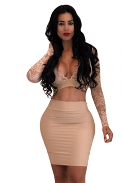 Sexy Deep V-Neck Long Sleeve Lace Two Piece Clubwear Dress Beige