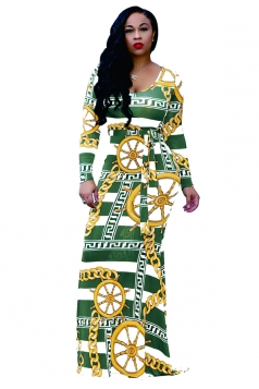 Long Sleeve Geometry Printed Maxi Bodycon Clubwear Dress Army Green