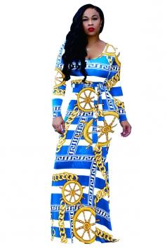 Womens Long Sleeve Geometry Printed Maxi Bodycon Clubwear Dress Blue