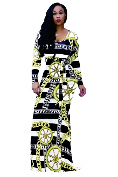 Womens Long Sleeve Geometry Printed Maxi Bodycon Clubwear Dress Black