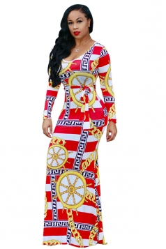 Womens Long Sleeve Geometry Printed Maxi Bodycon Clubwear Dress Red