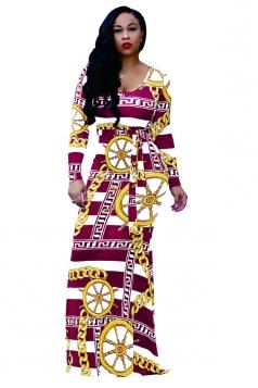 Womens Long Sleeve Geometry Printed Maxi Bodycon Clubwear Dress Ruby
