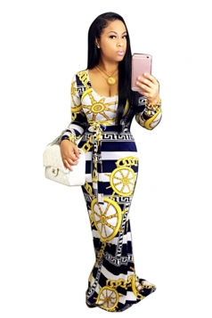 Long Sleeve Geometry Printed Maxi Bodycon Clubwear Dress Navy Blue
