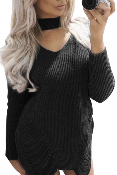 Sexy Halter Long Sleeve Cut Out Knit Sweater Clubwear Dress Black