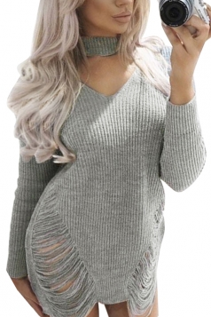 Sexy Halter Long Sleeve Cut Out Knit Sweater Clubwear Dress Gray