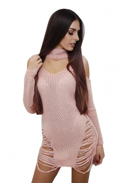 Sexy Halter Long Sleeve Cut Out Knit Sweater Clubwear Dress Pink