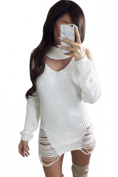Sexy Halter Long Sleeve Cut Out Knit Sweater Clubwear Dress White
