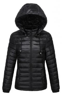 Womens Drawstring Hooded Slant Pocket Full Zipper Down Jacket Black