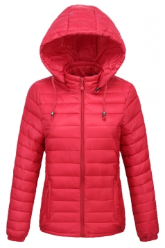 Womens Drawstring Hooded Slant Pocket Full Zipper Warm Down Jacket Red