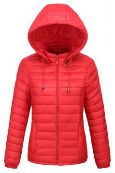 Womens Drawstring Hooded Slant Pocket Full Zipper Down Jacket Ruby