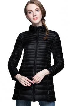 Womens Stand Collar Zipper Slant Pocket White Duck Down Jacket Black
