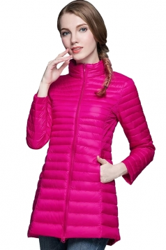 Stand Collar Zipper Slant Pocket White Duck Down Jacket Rose Red