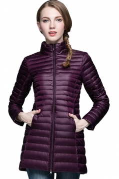 Womens Stand Collar Zipper Slant Pocket White Duck Down Jacket Purple