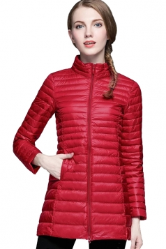 Womens Stand Collar Zipper Slant Pocket White Duck Down Jacket Red