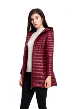 Womens Hooded Slant Pocket Zipper Warm White Duck Down Jacket Red