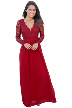 Womens V-Neck Long Sleeve Lace Backless Maxi Evening Dress Red
