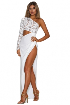 Womens Sexy One Shoulder Lace Ruffle Slit Clubwear Dress White