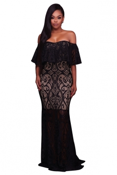 Womens Elegant Lace Off Shoulder Sleeveless Plain Maxi Dress Black