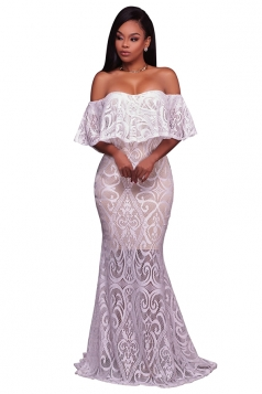 Womens Elegant Lace Off Shoulder Sleeveless Plain Maxi Dress White