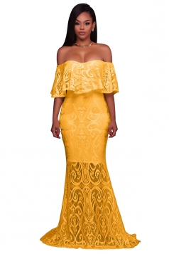 Womens Elegant Lace Off Shoulder Sleeveless Plain Maxi Dress Yellow