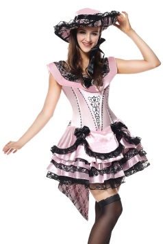 Halloween Costume For Women Southern Belle Victorian Party Dress Pink