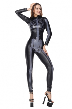 Halloween Skeleton Jumpsuit Costumes For Womens Black