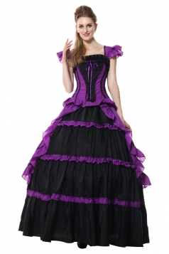 Womens Elegant Corset Prom Dress Halloween Costumes Purple