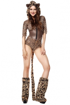 Sexy Halloween Leopard Costume For Womens Brown