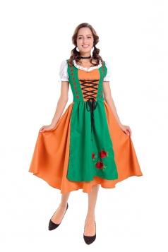 Halloween Bavaria Oktoberfest Dirndl Costume For Womens Green