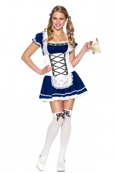 Womens Halloween Bavaria Oktoberfest Dirndl Beer Girl Costume Blue