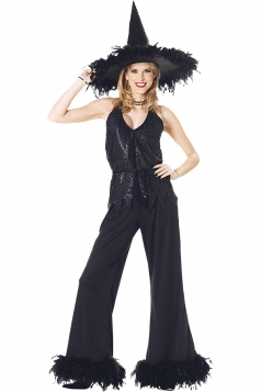 Womens Halloween Sequin Witch Costumes Black