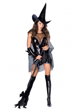 Womens Sexy Cosplay Witch Halloween Costume Black